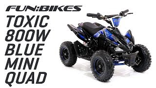 Product Overview: FunBikes Toxic 800w Black Blue Kids Electric Mini Quad Bike