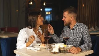 Young Couple on a Date. A Man Feeds His Woman a Delicious Dessert | Stock Footage - Videohive