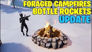 Fortnite update. Foraged campfire and bottle rockets gameplay