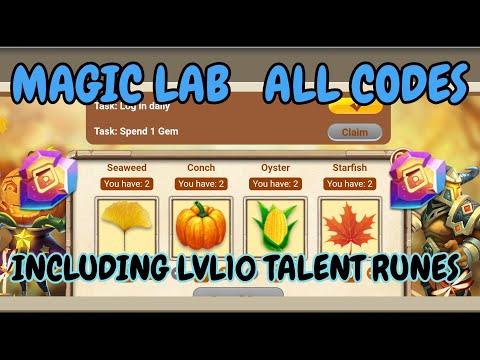 Magic Lab L ALL Codes Lncluding Lvl10 Talent Runes L Castle Clash
