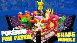 Pokemon Toys vs Paw Patrol Toys Shake Rumble Match with Paw Patrol Air Pups & Pikachu | KID CITY