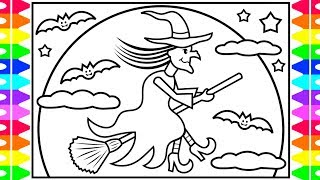 How to Draw a HALLOWEEN WITCH for Kids 🎃👻🕷💜💚Halloween Witch Drawing and Coloring Pages for Kids