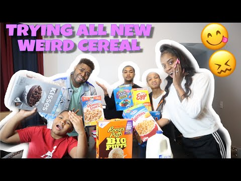 TRYING ALL NEW WEIRD CEREAL  TASTE TEST FAMILY EDITION