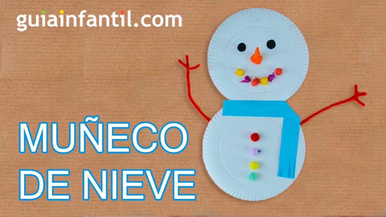 Manualidades navide as mu eco de nieve con platos youtube - Manualidades munecos de navidad ...