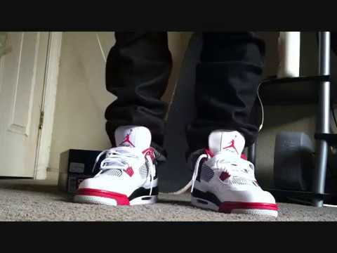 96ebf9cc Jordan 4 Fire Red On Feet | Doovi