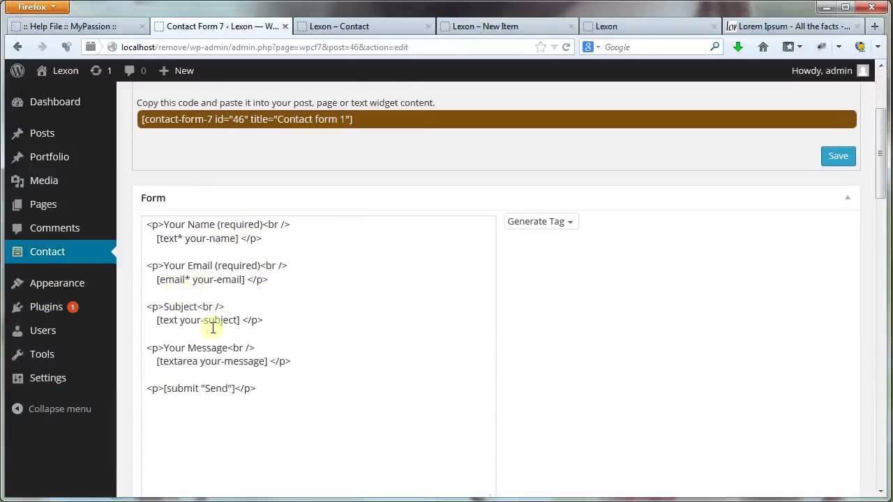 Lexonwp theme Contact Page Contact Form 7 Google Map YouTube