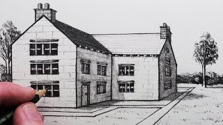 How to Draw a House in 1-Point Perspective