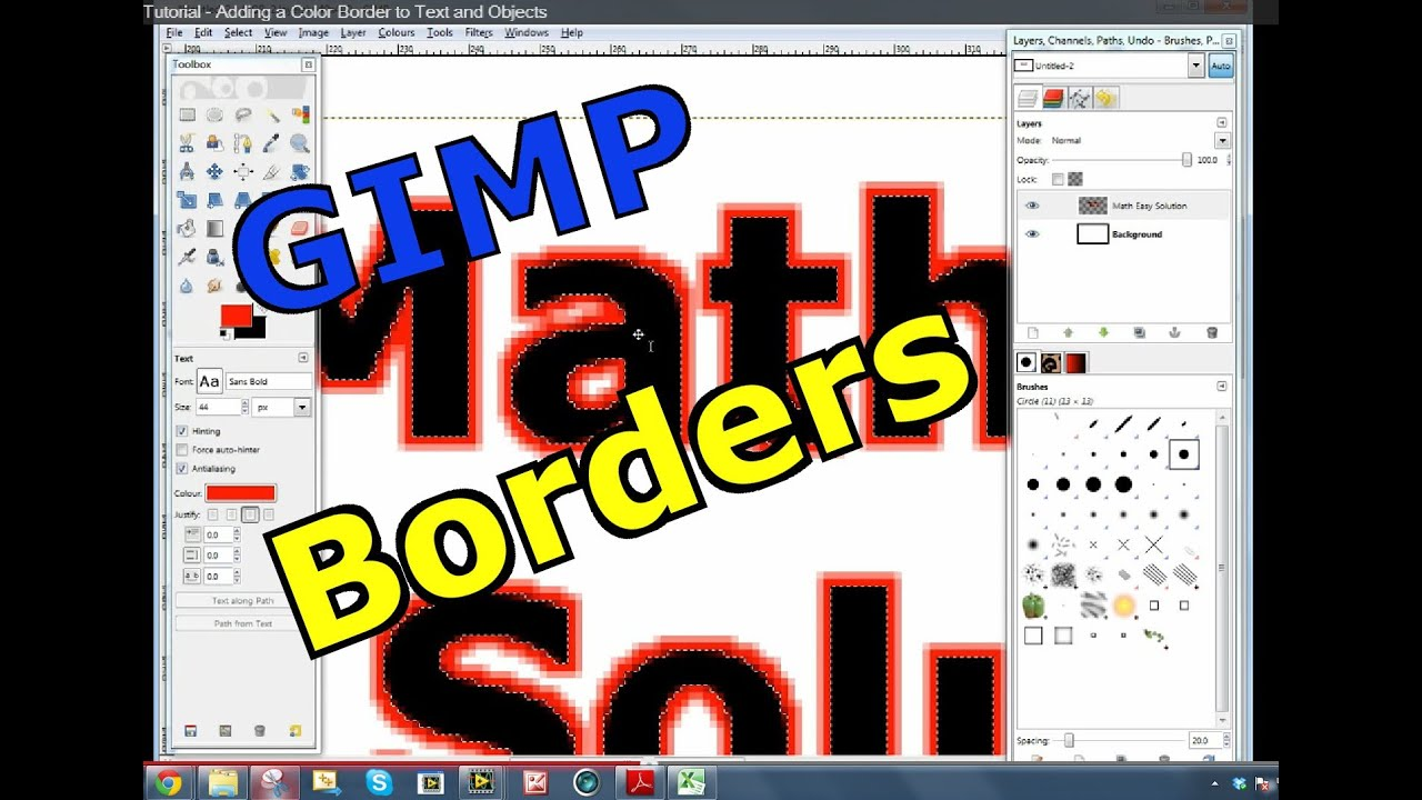 GIMP Photoshop Tutorial - Adding a Color Border to Text and Objects ...