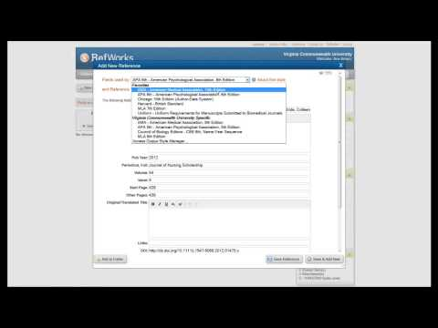 RefWorks: Creating a New Folder & Entering Citations Manually