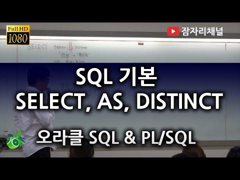 SQL 기본 데이터 조회 SELECT 컬럼 별칭 AS, DISTINCT : 오라클 강좌 2016 SQL & PL/SQL 잠자리채널 jamjalee oracle