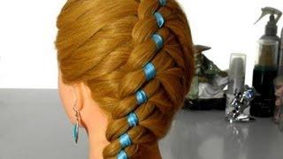Коса в четыре пряди по диагонали. Плетение волос с лентой.