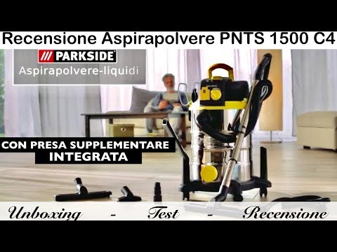 PNTS 1500 C4 vacuum cleaner. PARKSIDE. Lidl. With integrated socket. Powerful. Aspires liquids