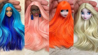 Elsa Doll Hair Transformation ~ DIY Miniature Ideas for Barbie ~ Wig, Dress, Faceup, and More!
