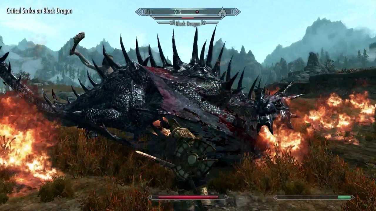 Nord Paladin vs  Black Dragon (Deadly Dragons Mod: Hardcore Mode)