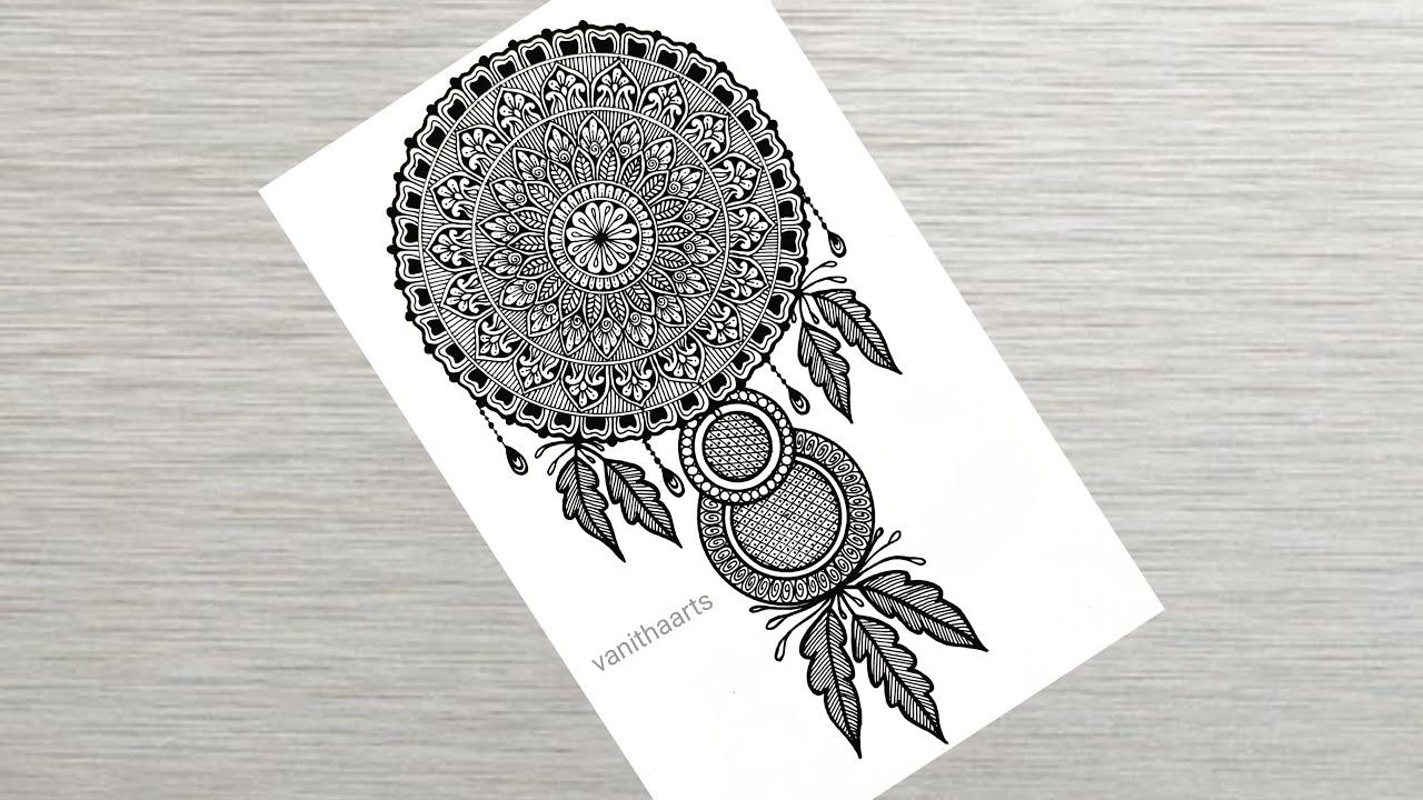 How to draw Dream Catcher mandala art   Easy mandala drawing   How to draw Mandala for Beginners