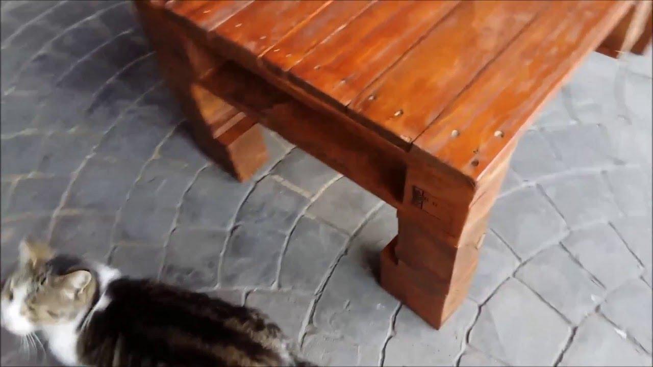 Como hacer mesa de centro con madera de palets youtube - Como hacer una mesa con palets ...
