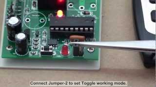 How to wire rf remote transmitter receiver to the 12v light?