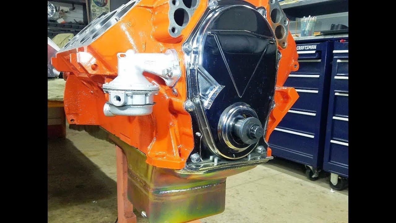 medium resolution of 440 chrysler mopar engine building part 6 cam button timing chain cover oil pan fuel pump