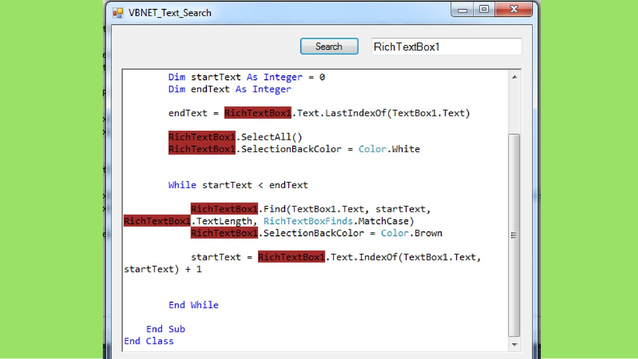 VB NET - How To Search And Select Text In RichTextBox Using Visual Basic   Net [with source code]