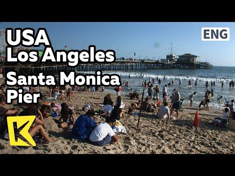 【K】USA Travel-Los Angeles[미국 여행-로스앤젤레스]산타모니카 해변 명소/Santa Monica Pier/Wood Bridge/Sea/Fishing