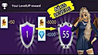 LEVELS 1 - 55 LEVELUP REWARDS | Avakin Life