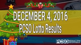 PCSO Lotto Results December 4, 2016 (6/58, 6/49, Swertres & EZ2)