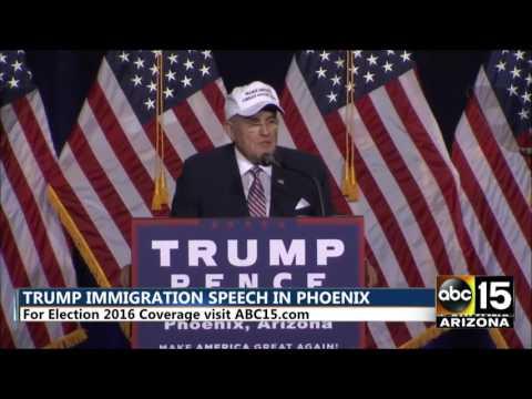 Mayor Rudy Giuliani: I wouldn't hire Hillary Clinton as a dog catcher - Donald Trump in Phoenix, AZ