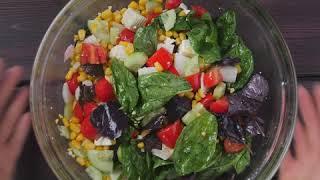 Рецепт быстрого овощного салата с брынзой и кукурузой