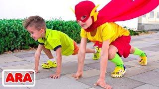 فلاد ونيكيتا يتحولان إلى أبطال خارقين  مجموعة فيديو للأطفال
