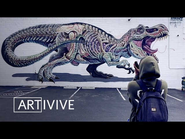 T-REX Mural By Nychos Comes Alive With Augmented Reality!