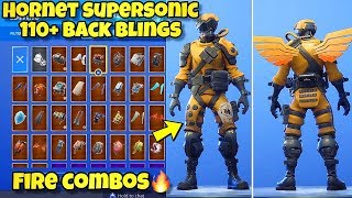 "NOUVEAU ""HORNET SUPERSONIC"" SKIN Showcased With 110 BACK BLINGS! Fortnite Battle Royale (COMBOS HORNET)"