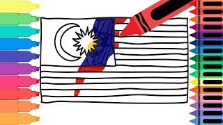 How to Draw Malaysia Flag - Drawing the Malaysian Flag - Art Colors for Kids | Tanimated Toys