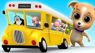 Wheels on the Bus | Nursery Rhymes & Kids Songs - Junior Squad Cartoons