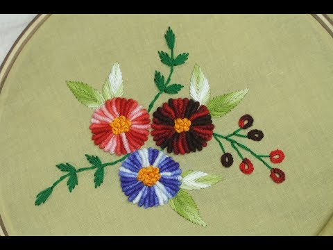 Hand embroidery designs | Bullion knot stitch