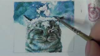 Рисуем кота в снегу акварелью/рисунок кота в снегу акварелью/ cat in watercolor