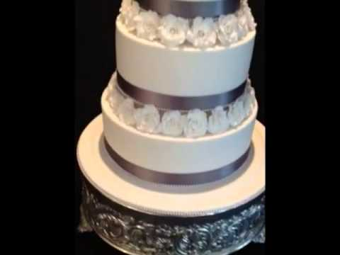 Classic White & Silver Wedding Cake With Sugar Roses - YouTube
