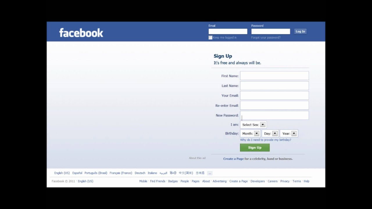 Facebook Login Home Page - YouTube