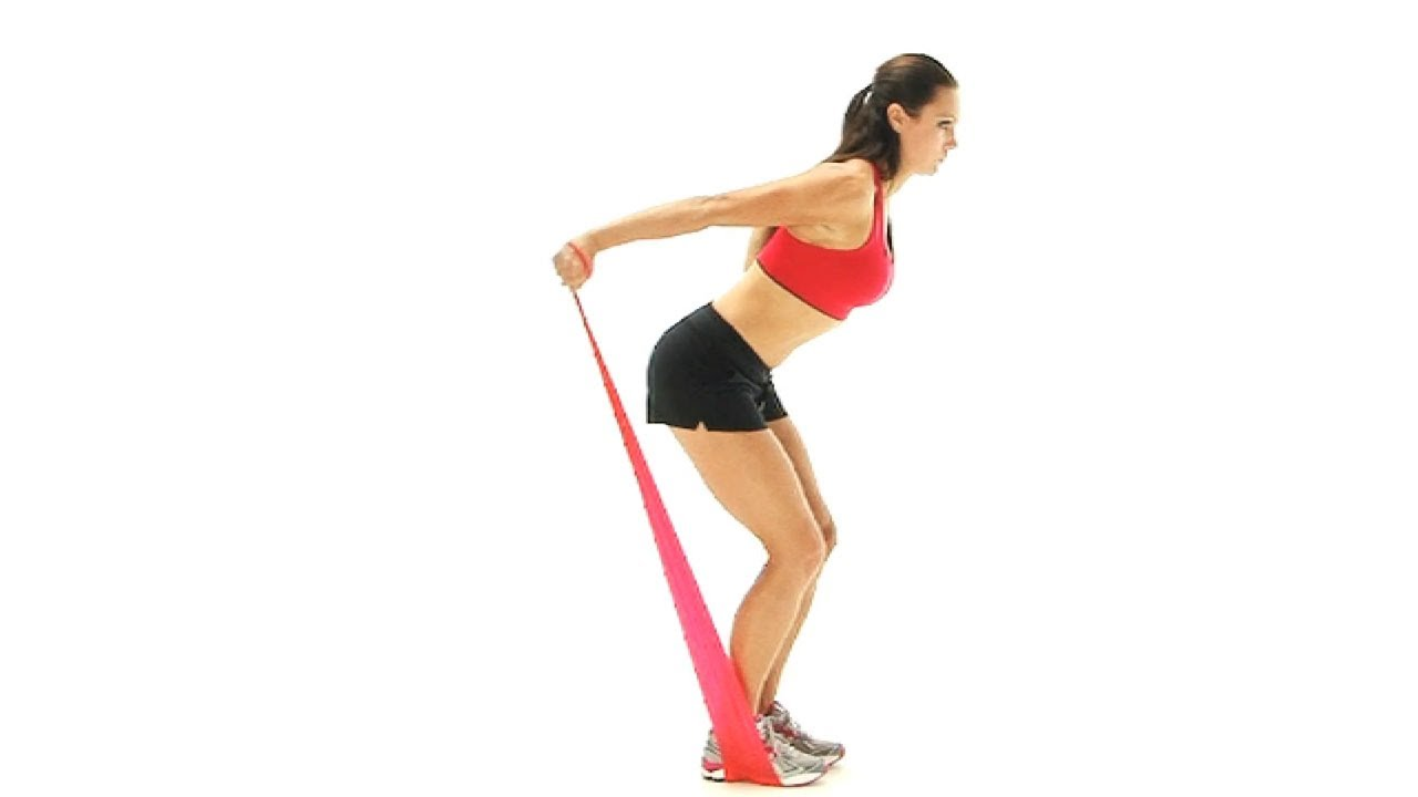 Arm and elbow exercise - tricep kickbacks with band