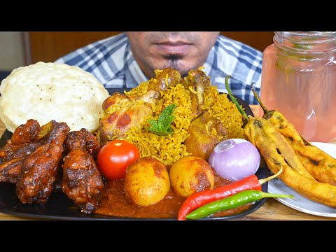 ASMR : Eating Chicken Biryani, Egg Masala, Spice Chicken, Poori, Chilli Pakoda - Mukbang Eating Show