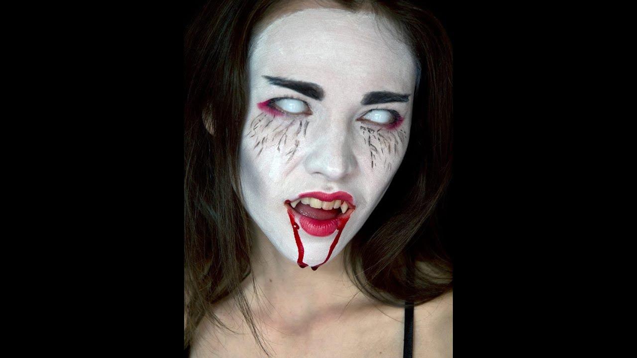 Vampire Geisha Halloween Make up - YouTube