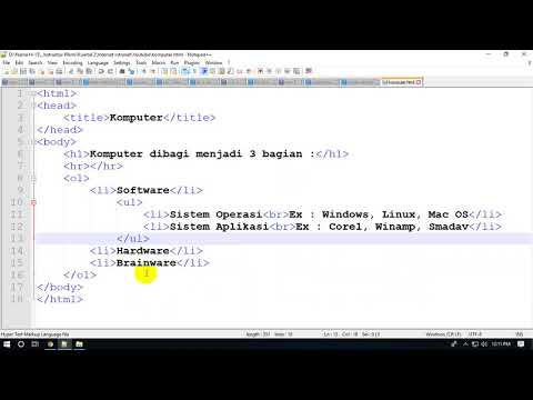 Belajar HTML Langsung Praktek OL UL 3 Level