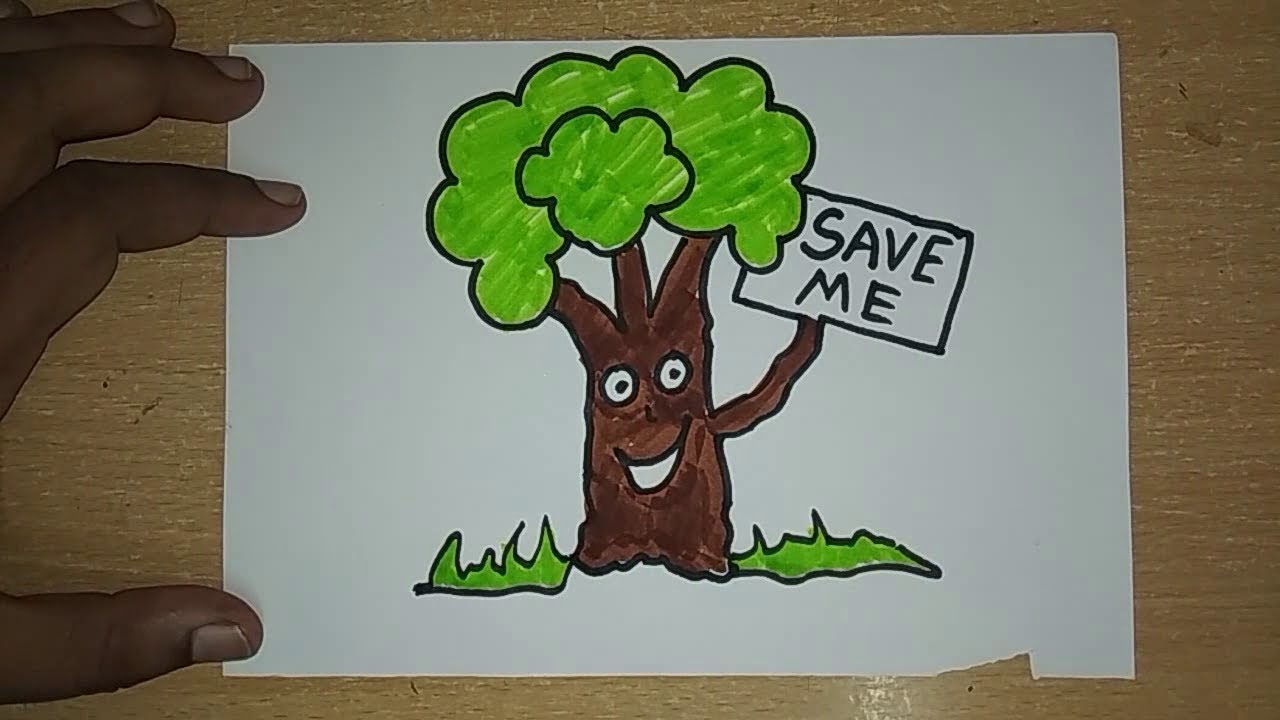 How to Draw Save Earth Coloring Poster step by step    Save Trees ...
