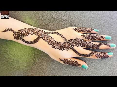 Spiral Bel Mehndi Design for Hands | New Gulf Style Mehendi with Flowers | MehndiArtistica