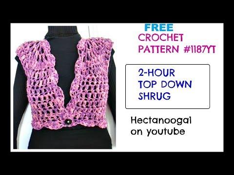 Crochet Shrug, 2 hour top down shrug all sizes, free crochet pattern, 1187yt