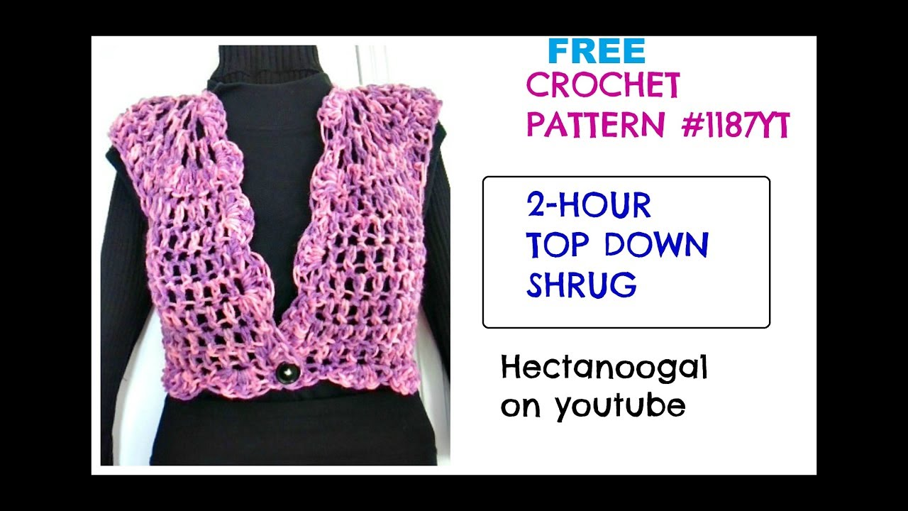 Crochet shrug 2 hour top down shrug all sizes free crochet crochet shrug 2 hour top down shrug all sizes free crochet pattern 1187yt bankloansurffo Choice Image
