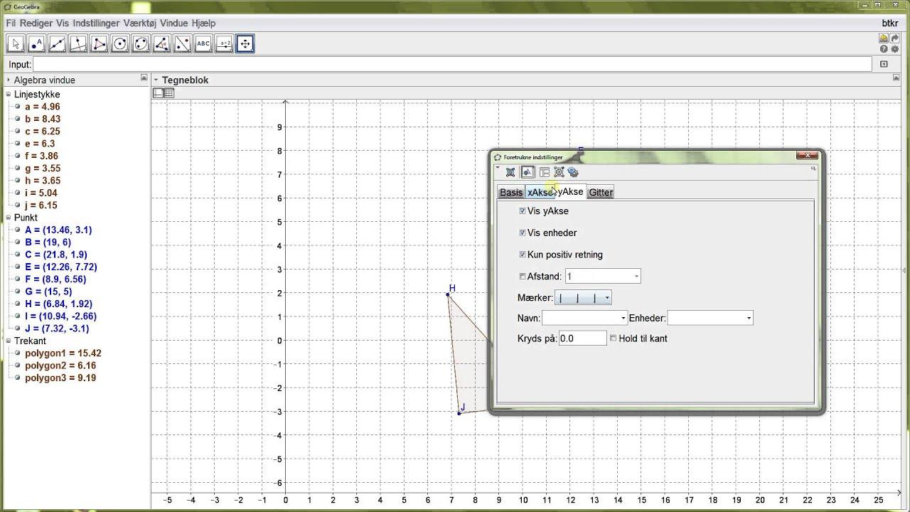 GeoGebra - Basis tutorial 04 - menulinjen og vigtige indstillinger - akser og gitter