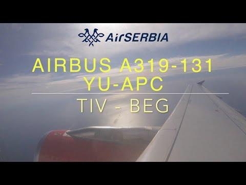 Tivat to Belgrade Full Flight (TIV:BEG, Air Serbia YU-APC, Airbus A319-131)