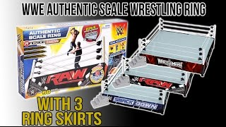 wwe figure insider wwe authentic scale wrestling ring w 3 ring skirts wrestling ring playset