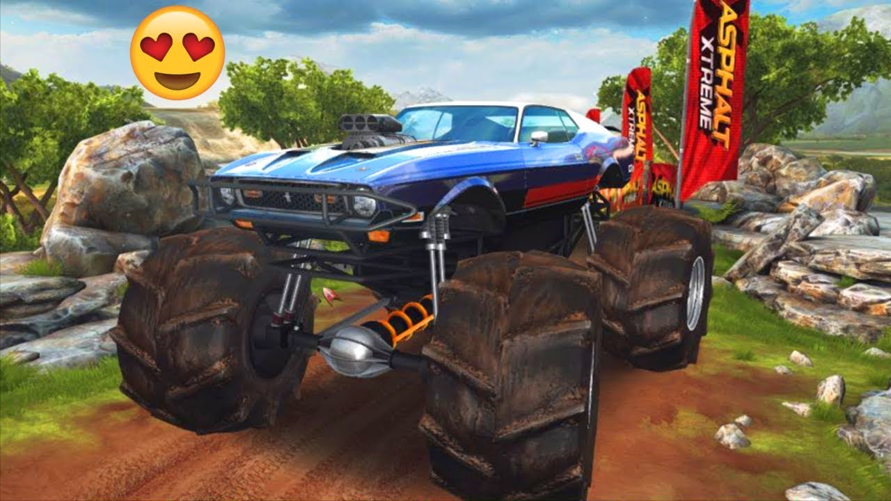 Mustang monster truck winning ford mustang mach 1 mp races in asphalt xtreme