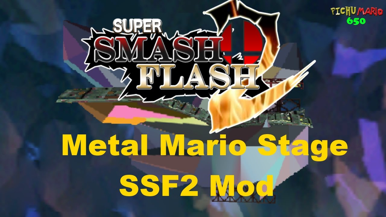 Super Smash Flash 2 Mods - Meta Crystal Mod (Metal Mario Stage)